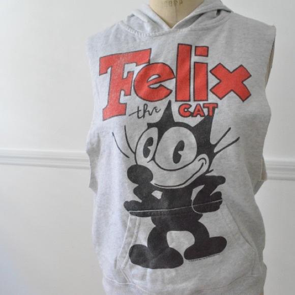 Grey Vintage Felix the cat sleeveless hoodie